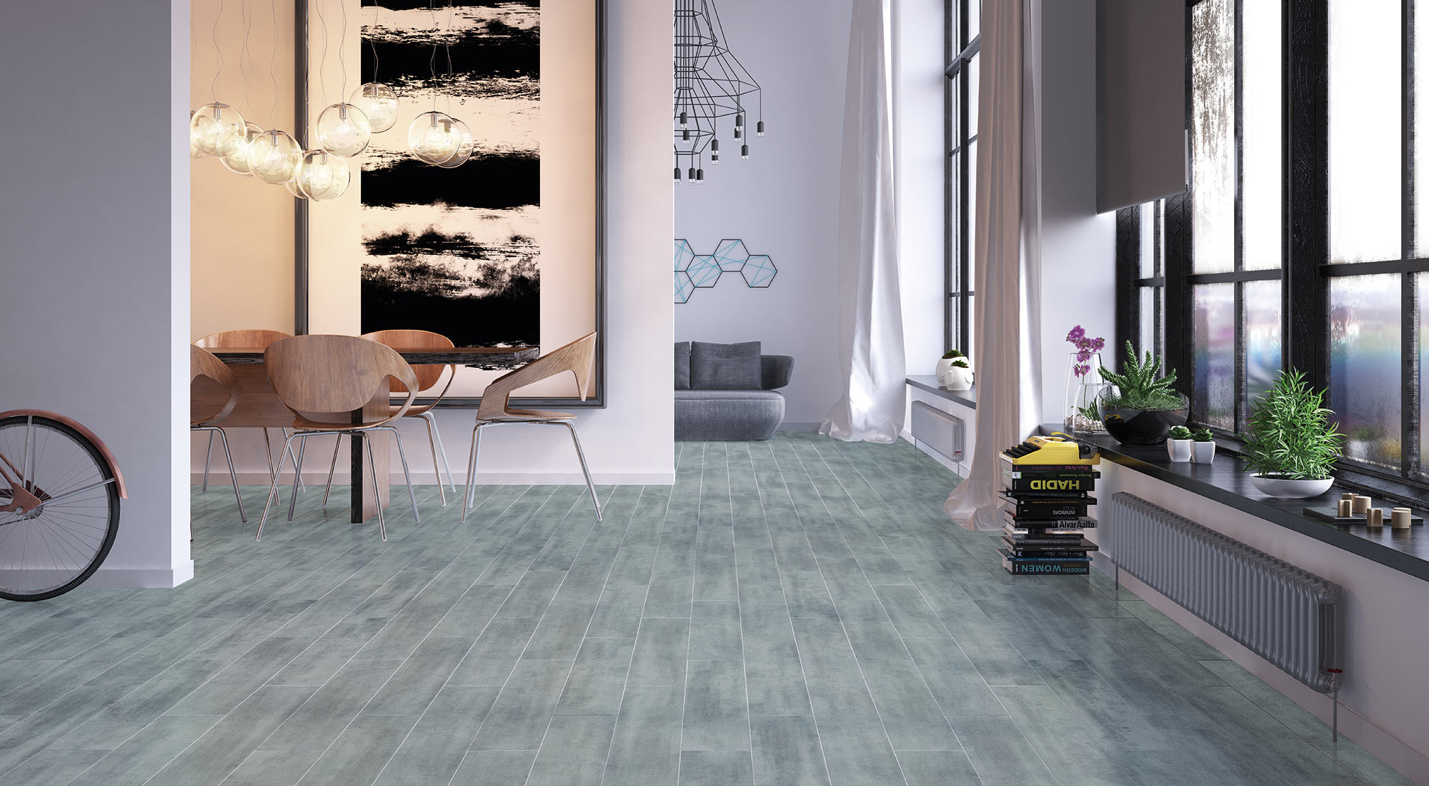A mixture of wood, concrete and natural stone united in a porcelain stoneware floor tile